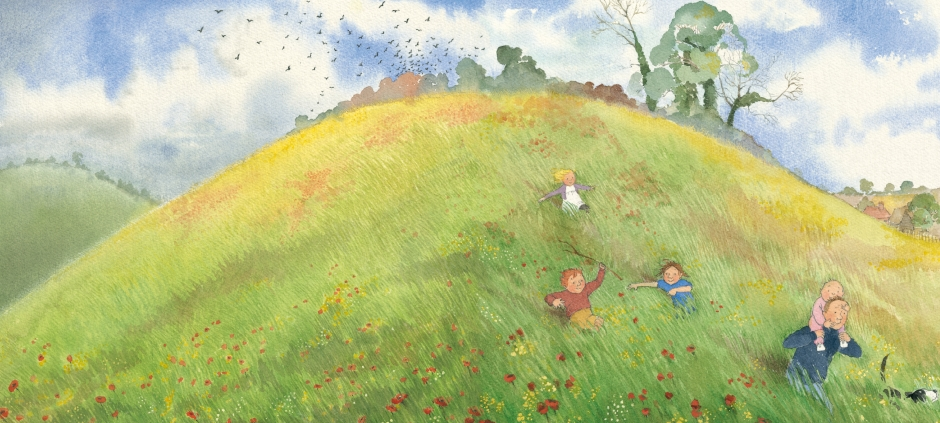 Illustration from We're Going on a Bear Hunt - family going through grass