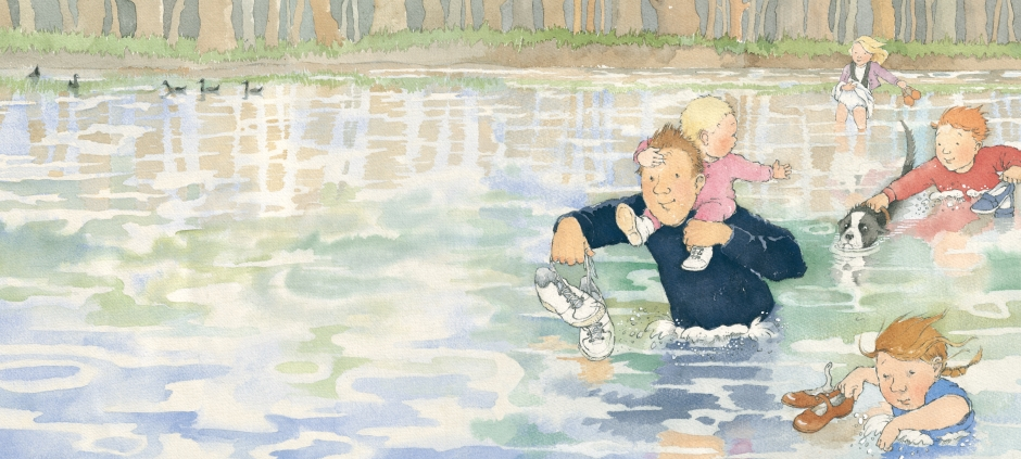 Illustration from We're Going on a Bear Hunt - family wading in water