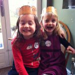 May and Ottie celebrating We're Going on a Bear Hunt