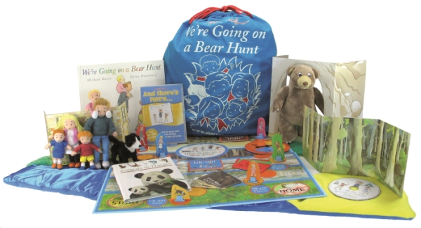 Bear Hunt Storysack with plush characters, activity mat, cardboard scenery, book and DVD, and board games