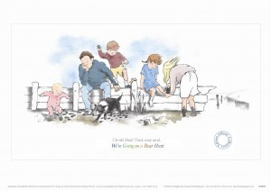 Limited Edition Print 1 from Aquarelle of family sitting on wall from We're Going on a Bear Hunt