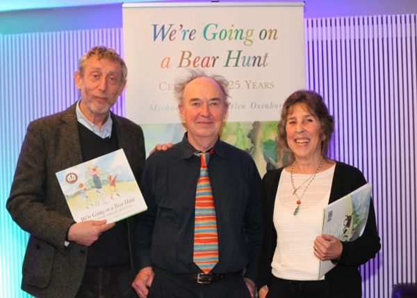 The editor of We're Going on a Bear Hunt, David Lloyd, with its author Michael Rosen and illustrator Helen Oxenbury. © Justine Stoddart