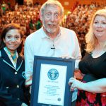Fortuna, Michael Rosen and Nikki Gamble with the World Record certificate