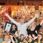 Photo of Michael Rosen with the Charter Hall crowd of children