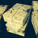Books beatifully wrapped in Bear Hunt wrapping paper