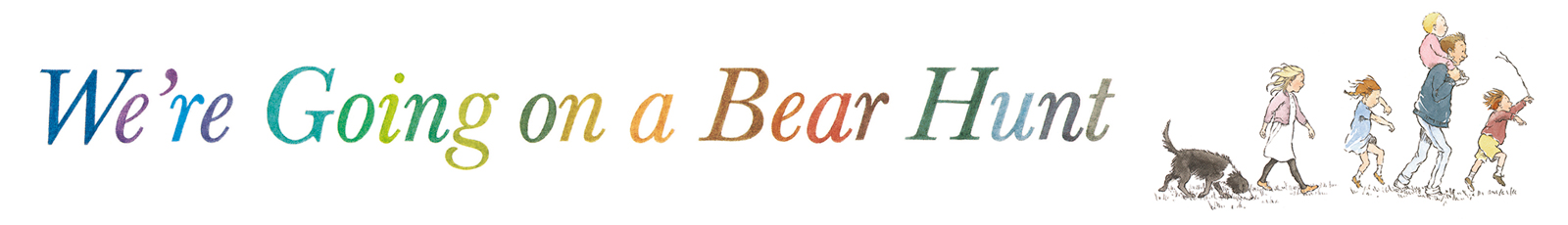 We're Going on a Bear Hunt 25th Anniversary Logo. We're Going on a Bear Hunt Celebrating 25 Years Header Image. Illustration of man walking with three children.